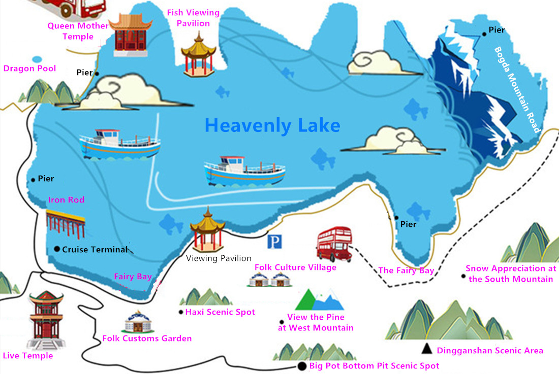heavenly lake traveling route