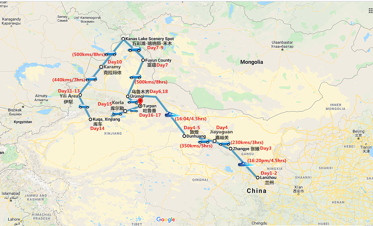 18 Days Silk Road and Northern Xinjiang Tour Travel Map