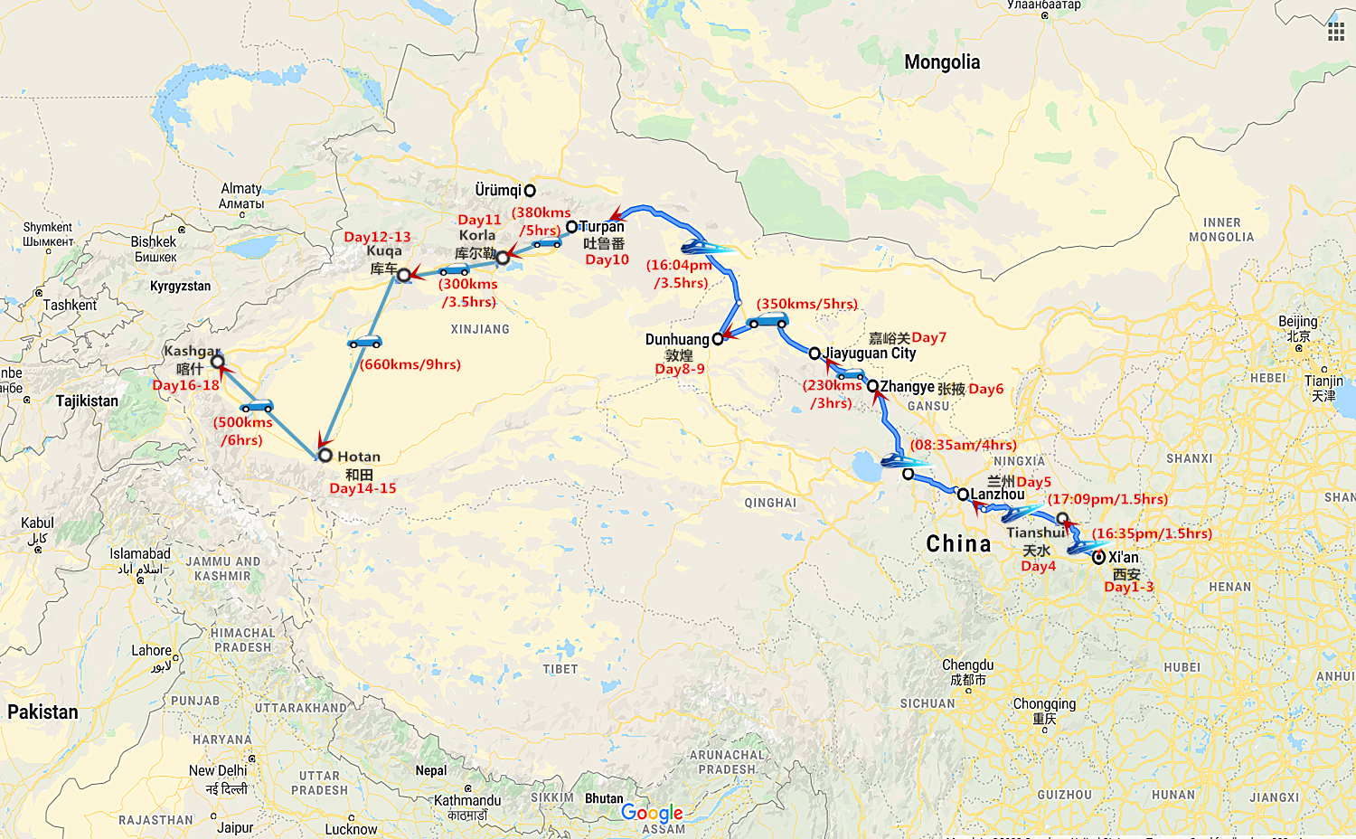 18 Days Silk Road In-Depth Tour Travel Map