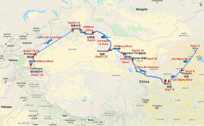 21 Days China Silk Road Tour: Beijing to Urumqi Travel Map