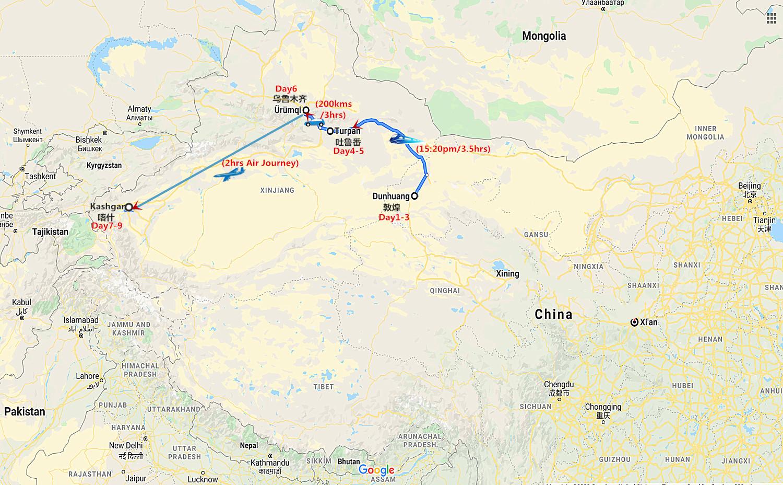 9 Days Silk Road Dunhuang to Kashgar Travel Map