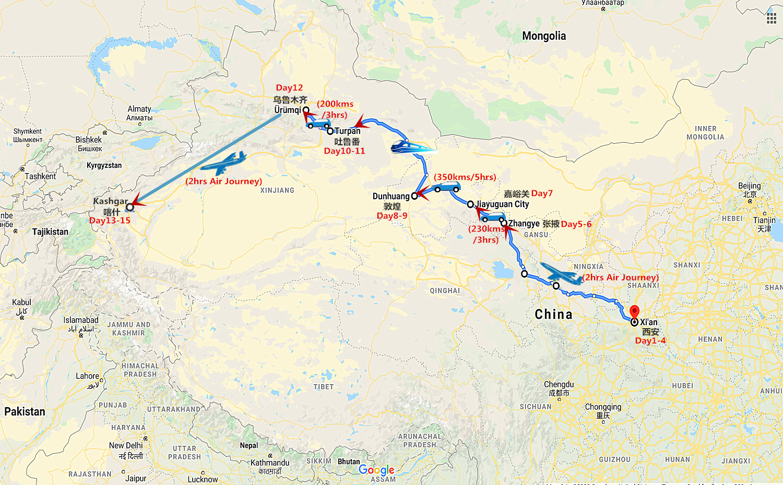 15 Days Escorted Silk Road Adventure Travel Map