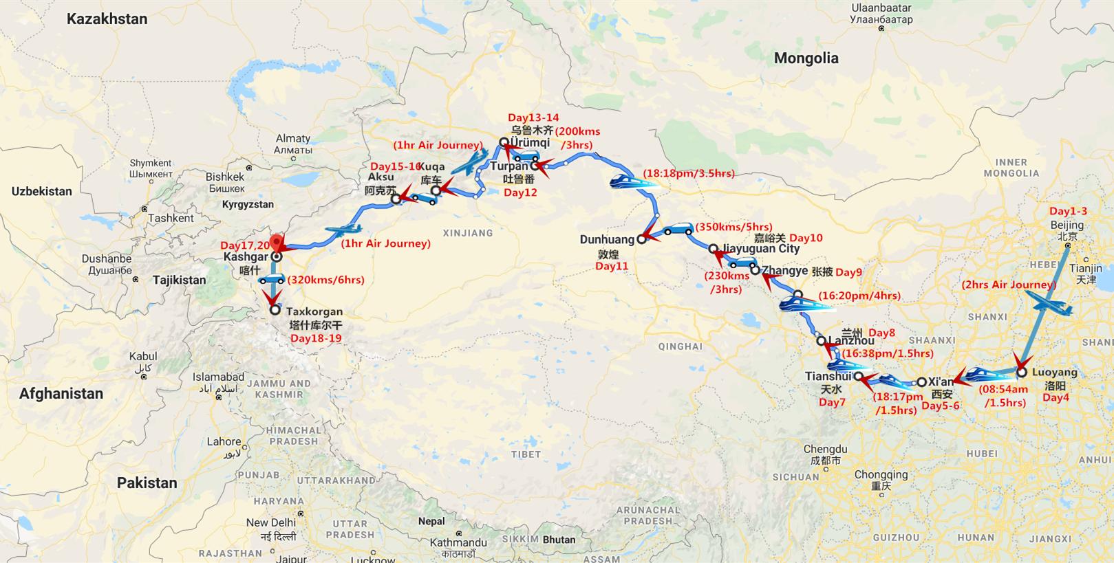 20 Days Panoramic China Silk Road Adventure Travel Map