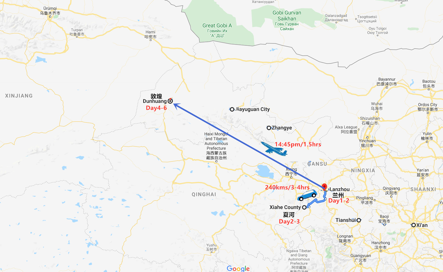 6 Days Lanzhou and Dunhuang Tour Travel Map