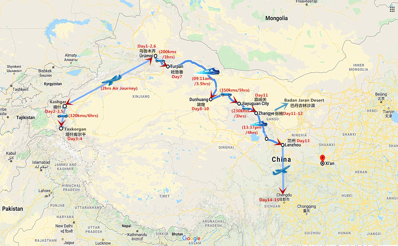 15 Days China Silk Road Tour from Kashgar to Chengdu Travel Map