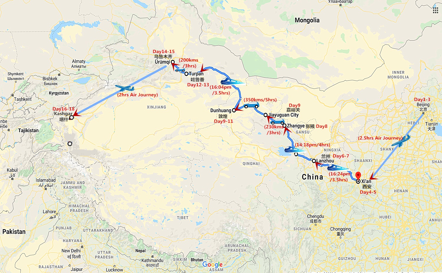 18 Days Silk Road and Great Wall of China Tour Travel Map