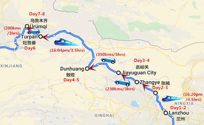 8 Days of Silk Road Tour from Lanzhou to Urumqi Travel Map