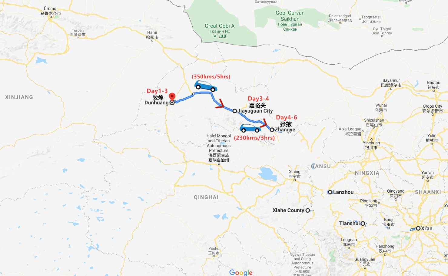 6 Days Gansu Tour Travel Map