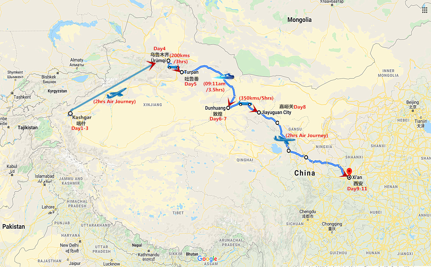 11 Days Silk Road Group Tour from Kashgar to Xi'an Travel Map