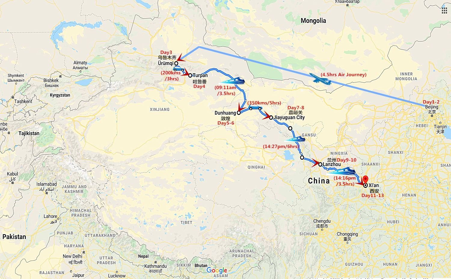 13 Days China Silk Road Tour from Beijing Travel Map