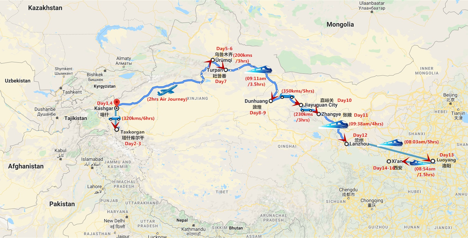 Silk Road Tour in Spring of March and April Travel Map