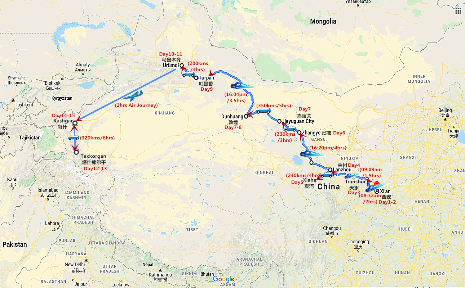 15 Days Culture Exploration on the Silk Road Travel Map