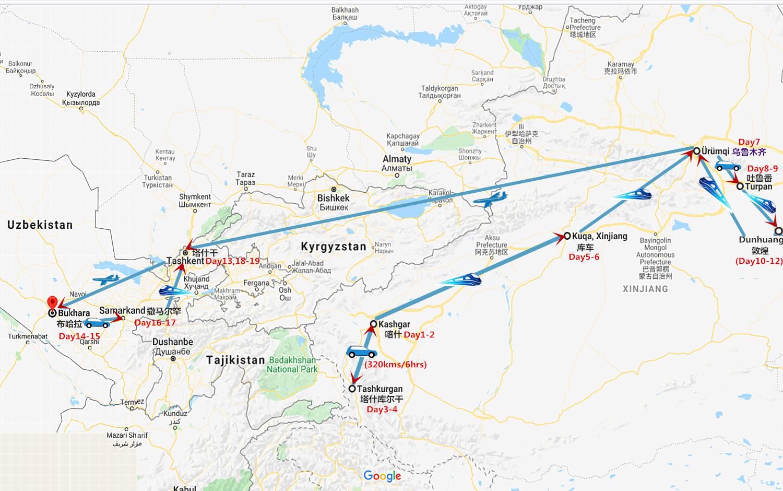 19 Days Xinjiang China and Uzbekistan Tour Travel Map