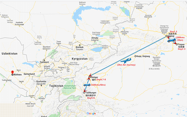 Silk Road Xinjiang Group Tour Travel Map