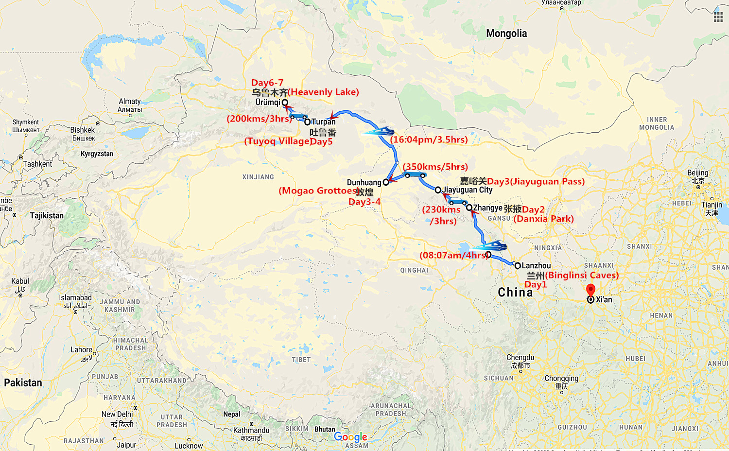 7 Days Silk Road Classic Tour from Lanzhou to Urumqi Travel Map