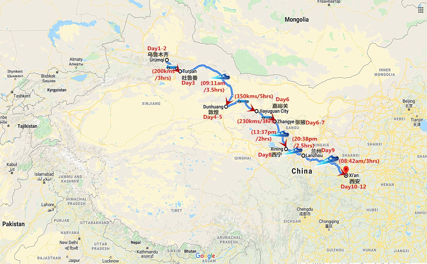 12 Days China Silk Road Train Tour Travel Map
