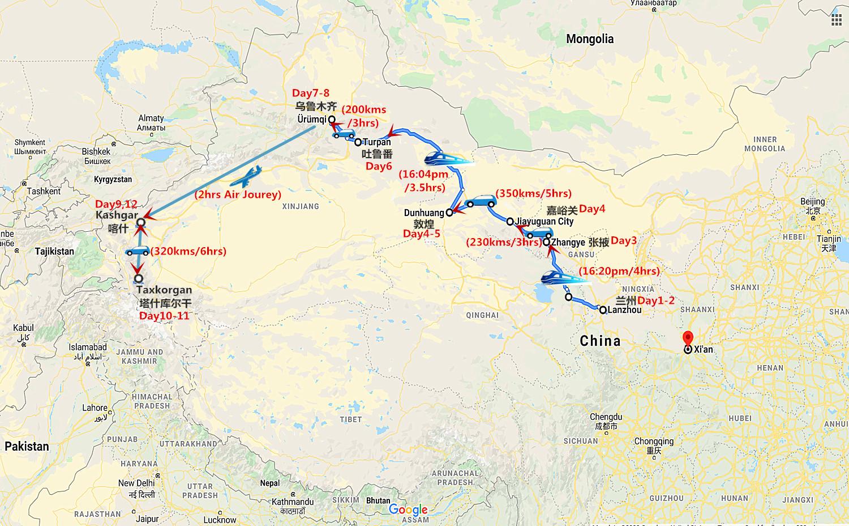 12 Days Silk Road Tour from Lanzhou to Kashgar Travel Map