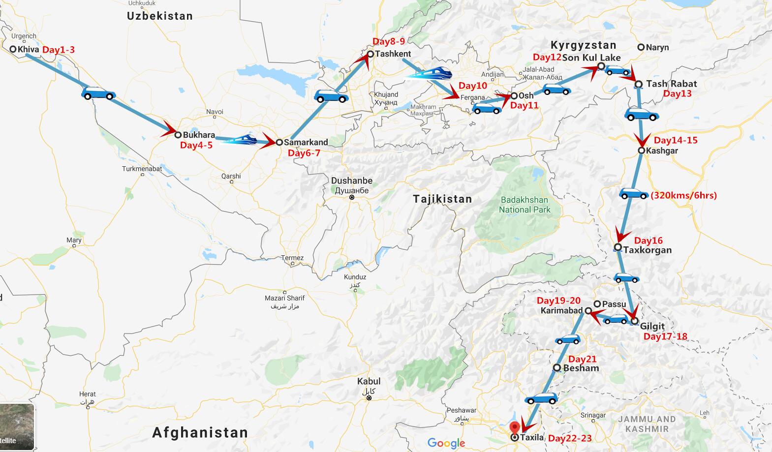 23 Days Uzbekistan to Pakistan via Karakoram Highway Travel Map