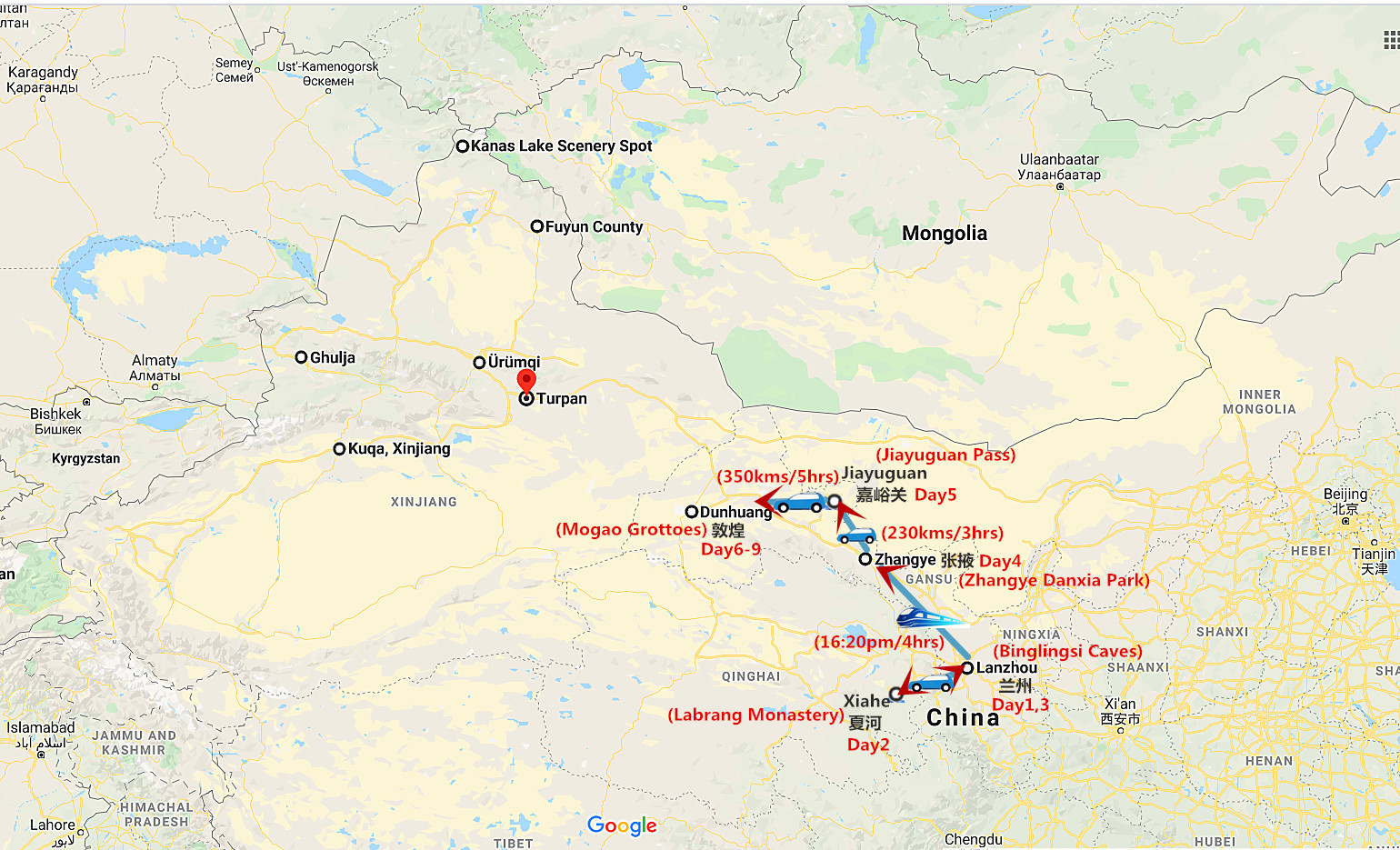 9 Days Silk Road Gansu Tour Travel Map