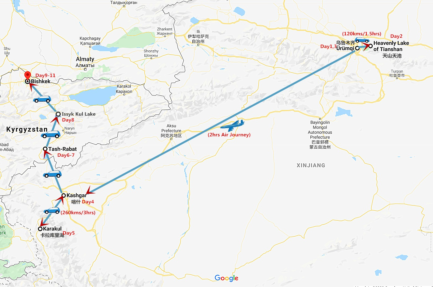 11 Days China to Kyrgyzstan Overland Tour: Urumqi to Bishkek Travel Map