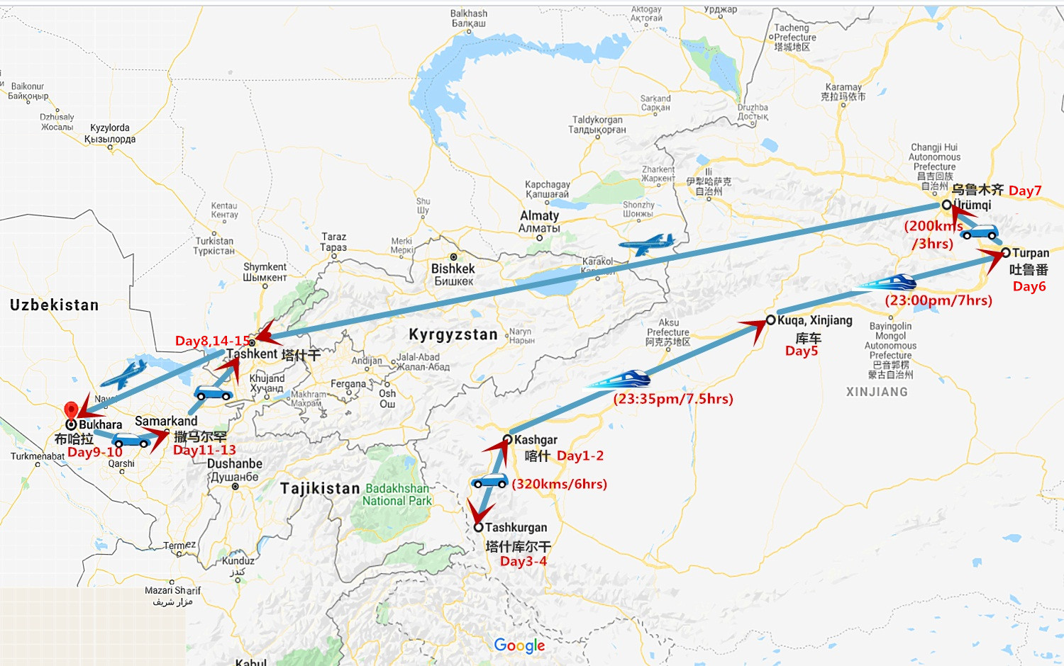 15 Days Great Silk Road from Kashgar to Tashkent Travel Map