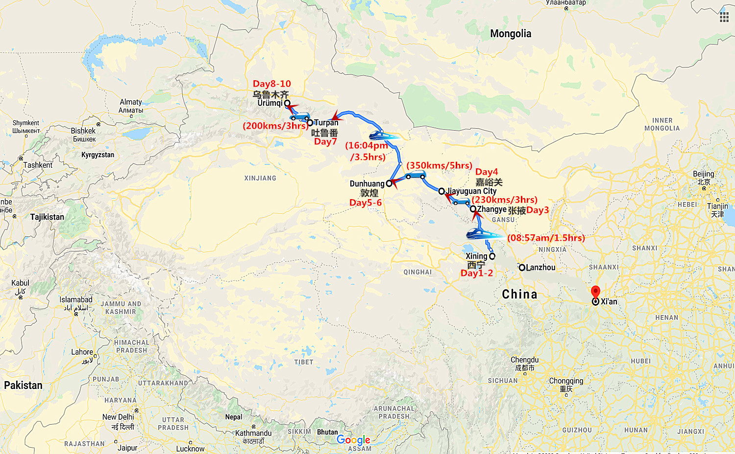 10 Days Silk Road Tour from Xining to Urumqi Travel Map