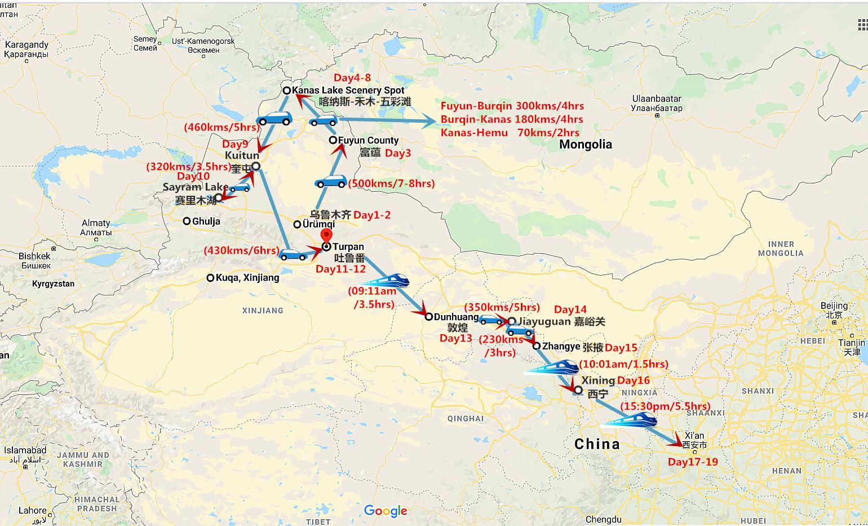 19 Days Northern Xinjiang Gansu and Qinghai Tour Travel Map