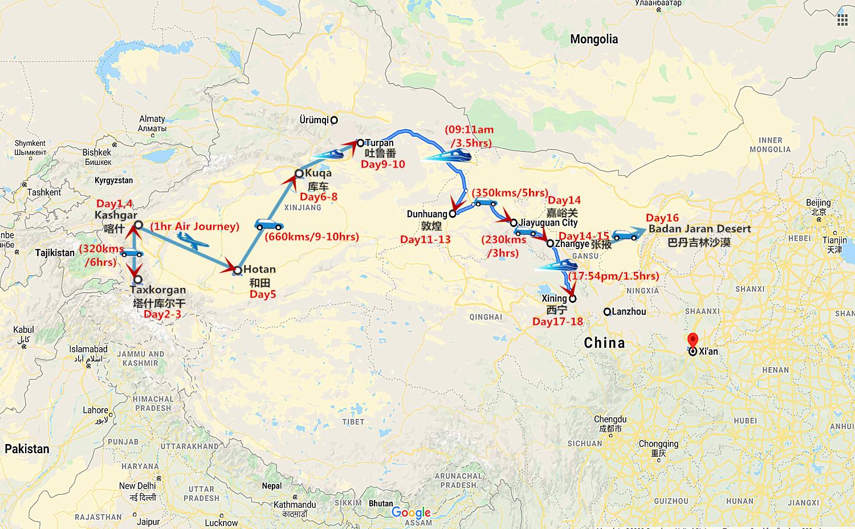 18 Days South Xinjiang and Silk Road Tour with Badan Jaran Desert Safari Travel Map