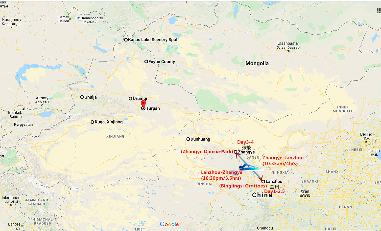 5 Days Lanzhou and Zhangye Tour Travel Map