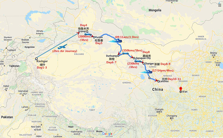 11 Days Silk Road Tour from Kashgar to Lanzhou Travel Map