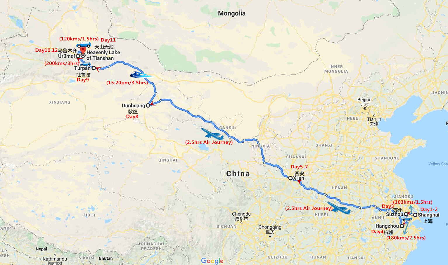 12 Days East China and Silk Road Adventure Travel Map