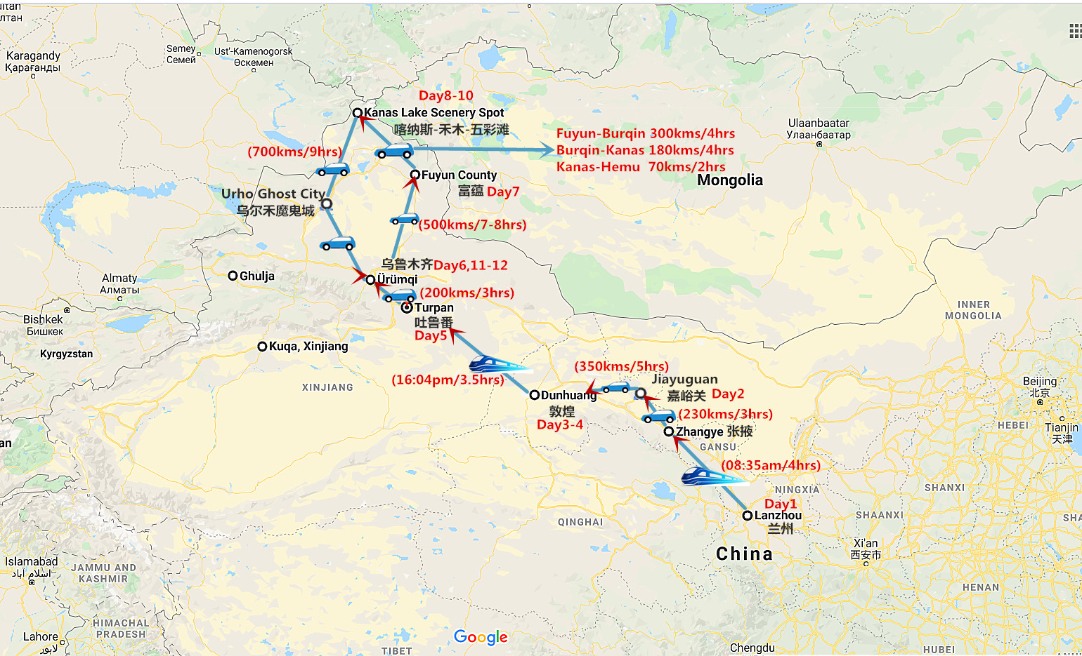 Silk Road and Northern Xinjiang Tour Travel Map