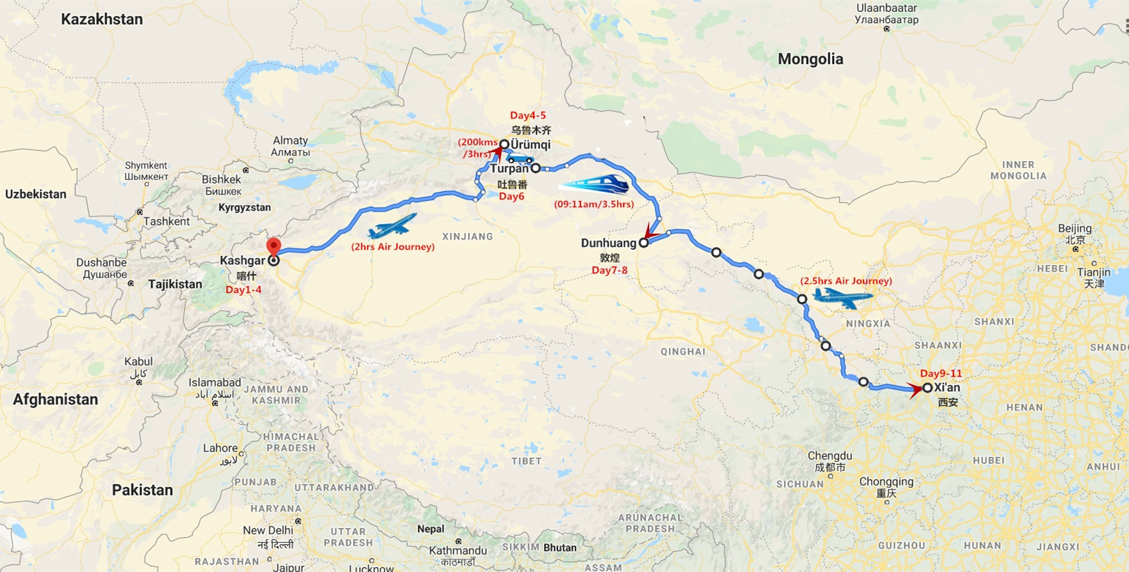 11 Days Silk Road Xinjiang Tour Travel Map