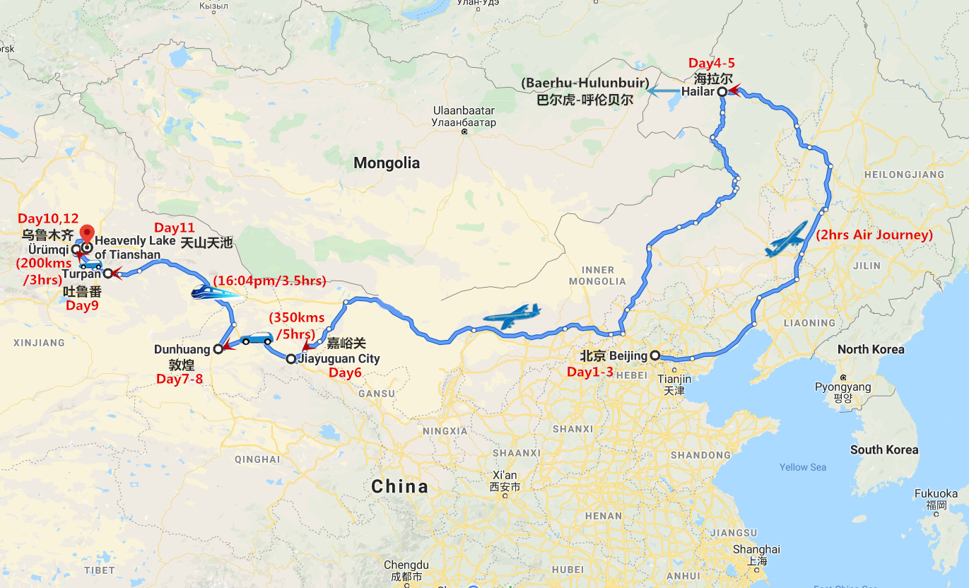 12 Days Silk Road and Inner Mongolia Travel Map