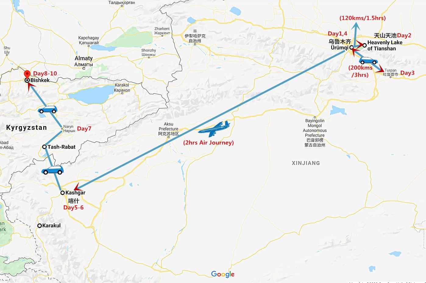 10 Days Silk Road Xinjiang and Bishkek Kyrgyzstan Travel Map