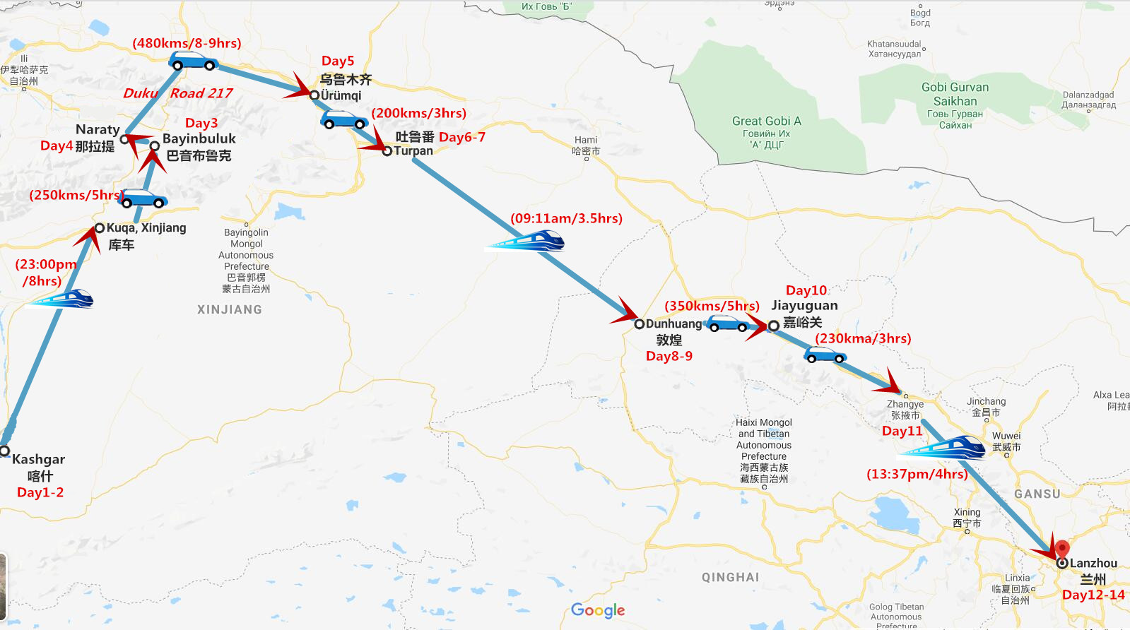 14 Days West China Tours: Kashgar Silk Road Travel Map