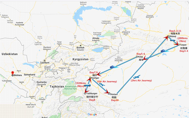 11 Days South Xinjiang Tour from Urumqi to Hotan Travel Map