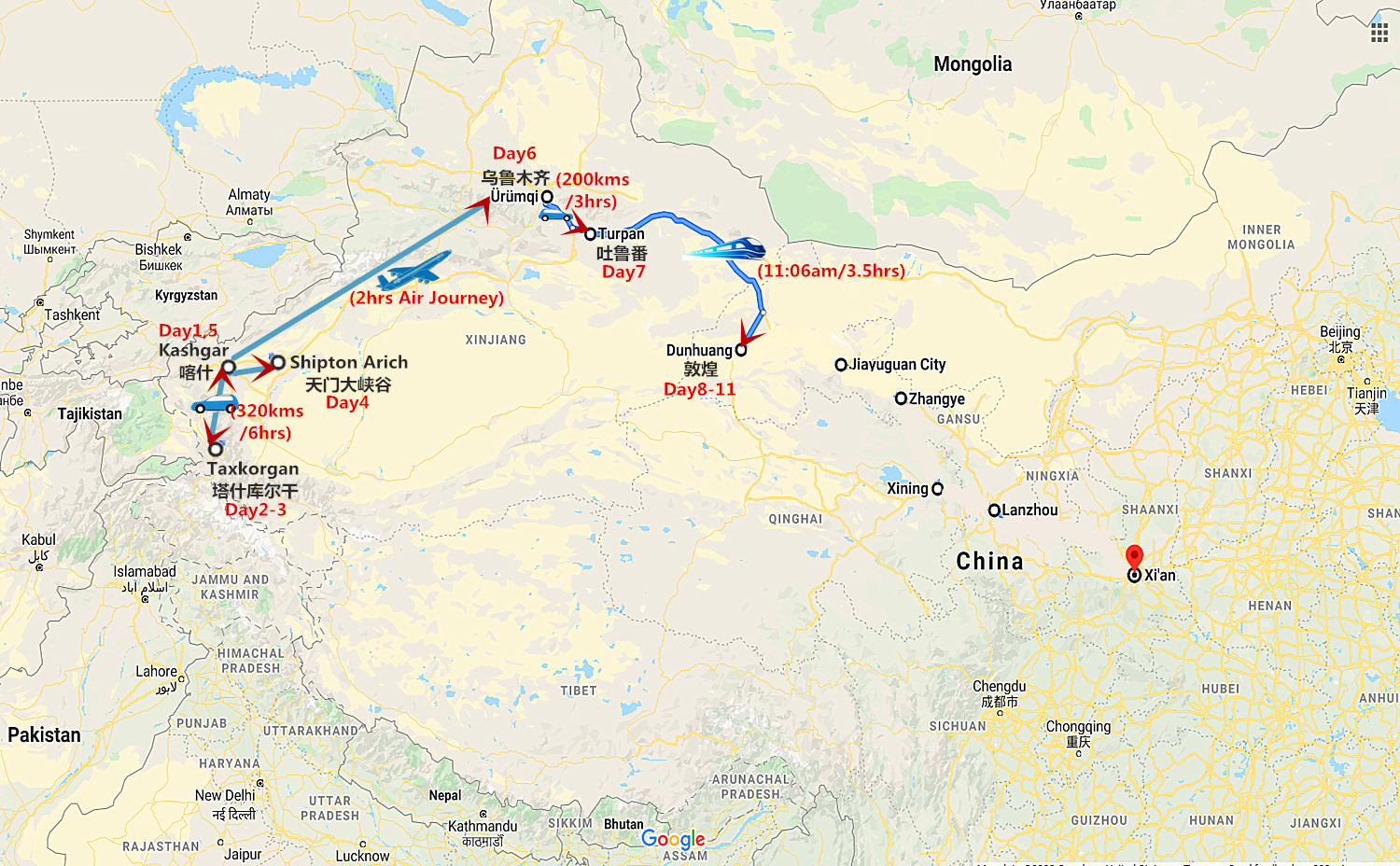 11 Days Silk Road Travel from Kashgar to Dunhuang Travel Map