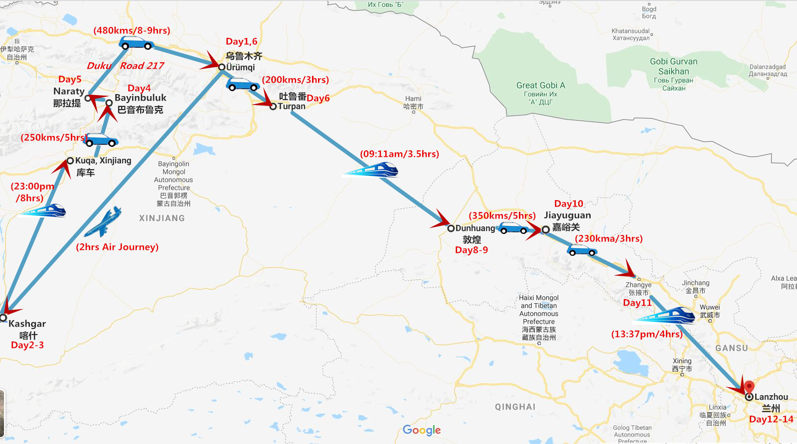 14 Days Silk Road and Northern Xinjiang Tour Travel Map
