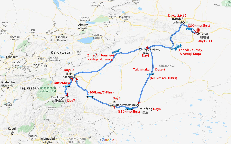 12 Days South Xinjiang Tour with Taklamakan Desert Adventure Travel Map