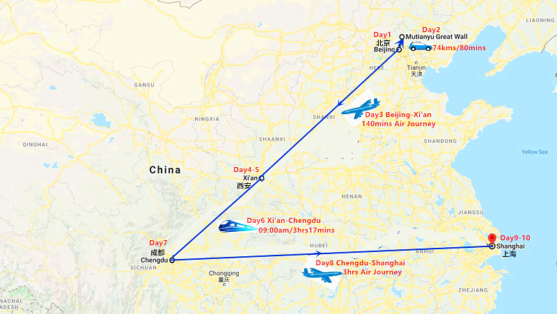 10 Days Beijing - Xi'an - Chengdu and Shanghai Private Tour Travel Map