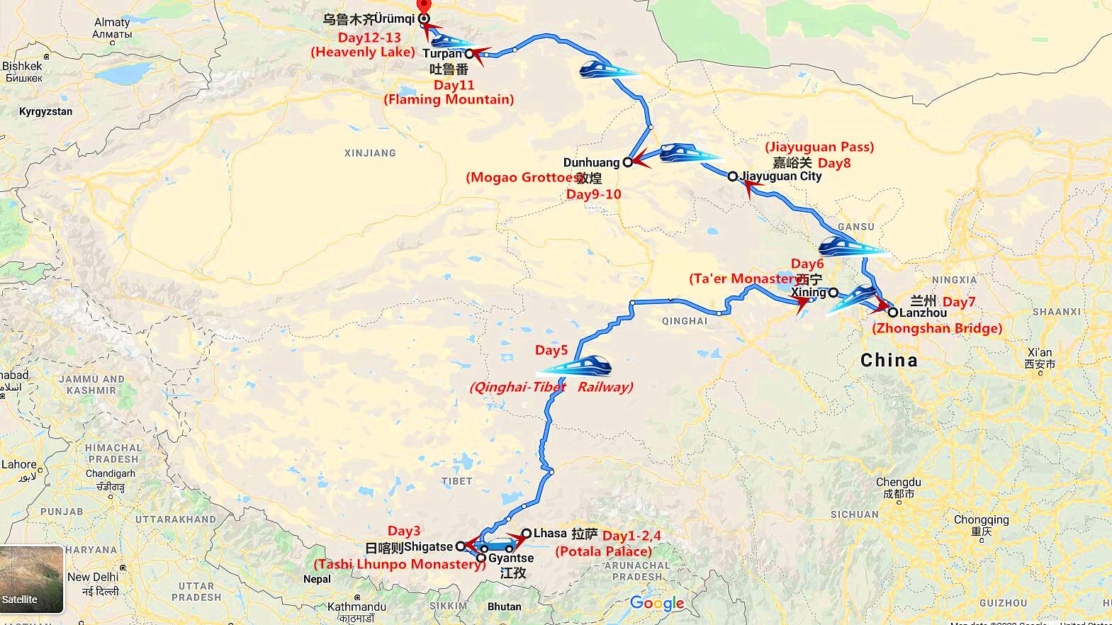 13 Days Silk Road Oriental and Tibet Adventure Travel Map