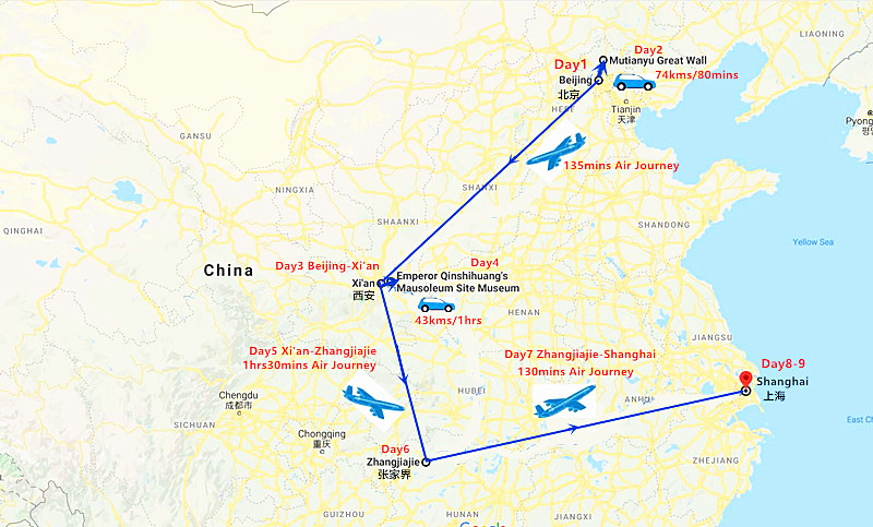 9 Days China Culture with Zhangjiajie Landscape Tour Travel Map