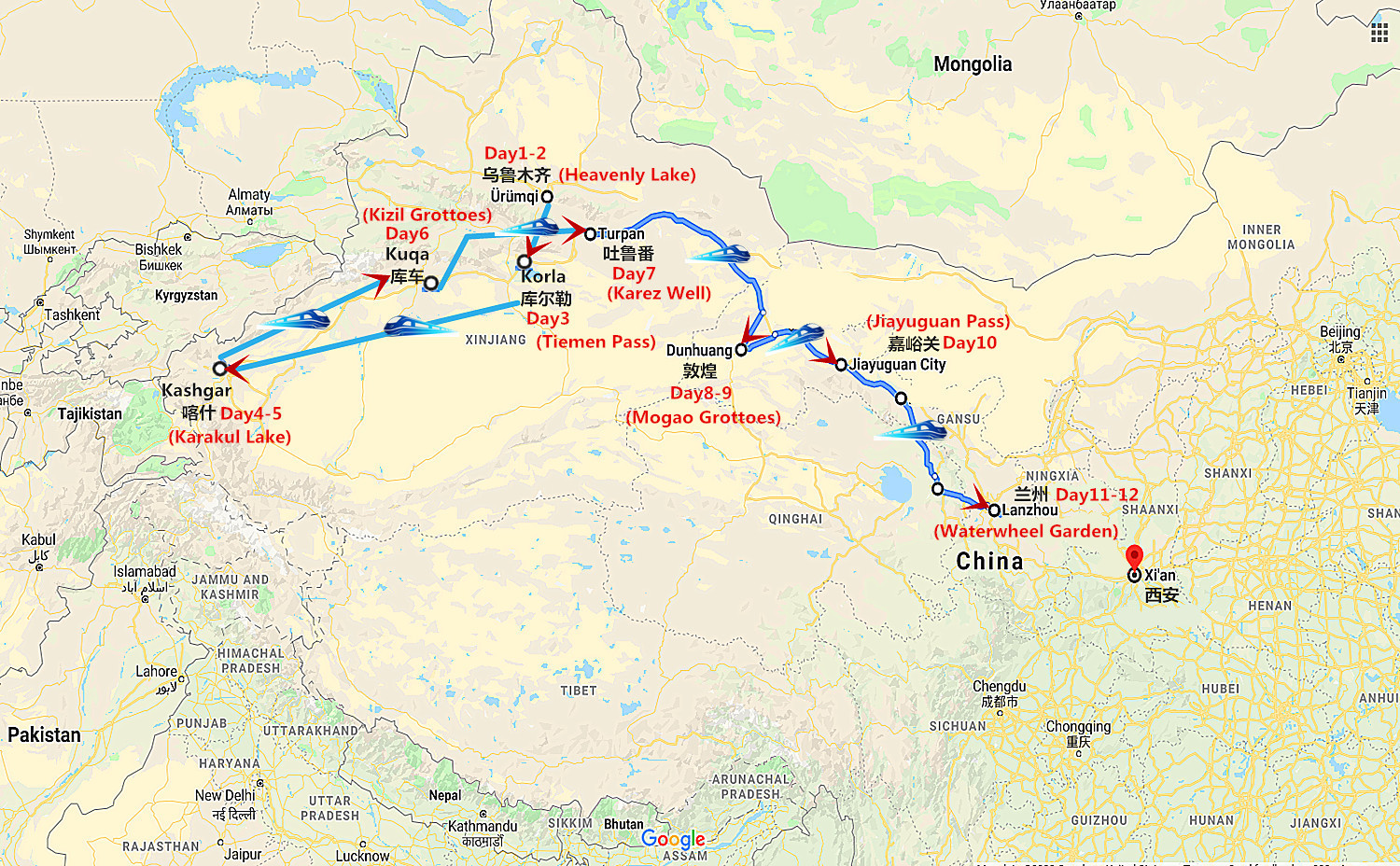 12 Days Oriental Express Silk Road Tour Travel Map