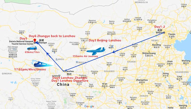 7 Days Beijing and Zhangye Tour Travel Map