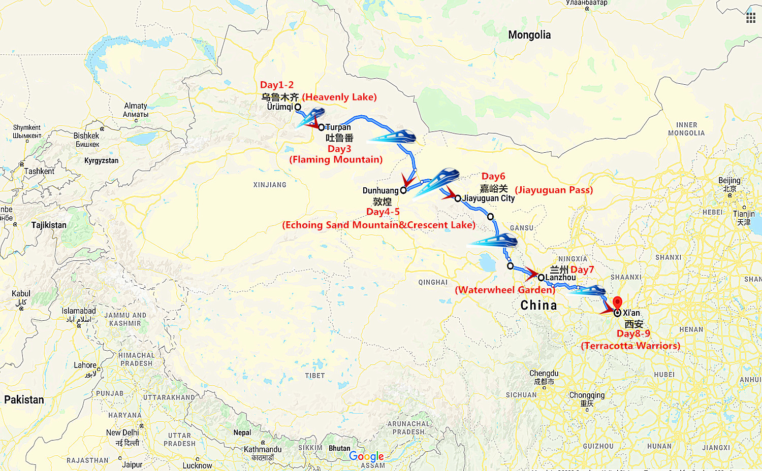 9 Days Silk Road Oriental Express Train Travel Map