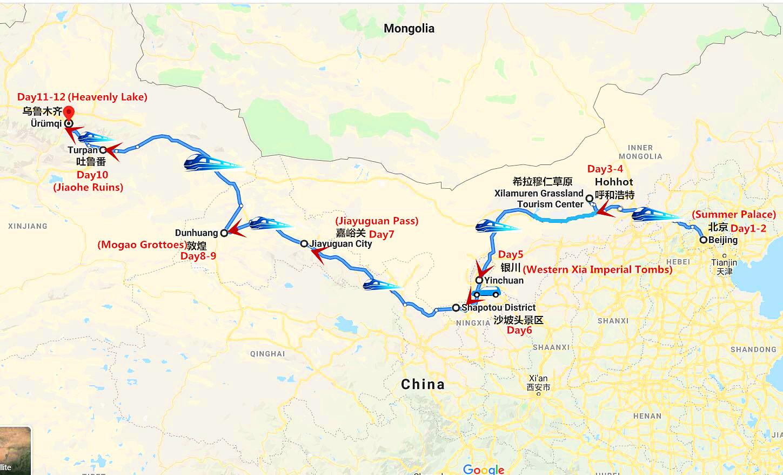 12 Days Oriental Express Silk Road & Inner Mongolia Adventure Travel Map