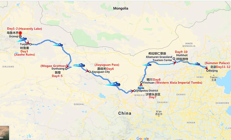 12DaysSilk Road Travel from Urumqi to Beijing Travel Map