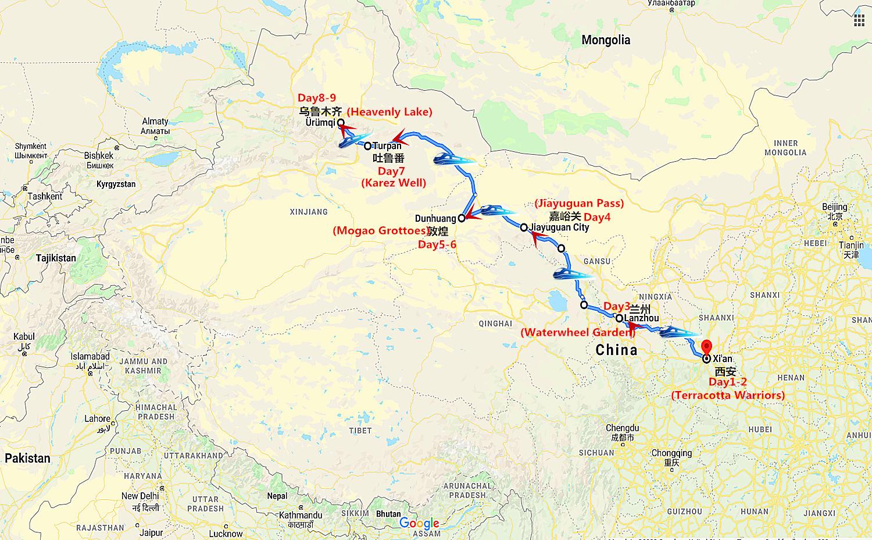 9DaysChina Oriental Express Silk Road Travel Map