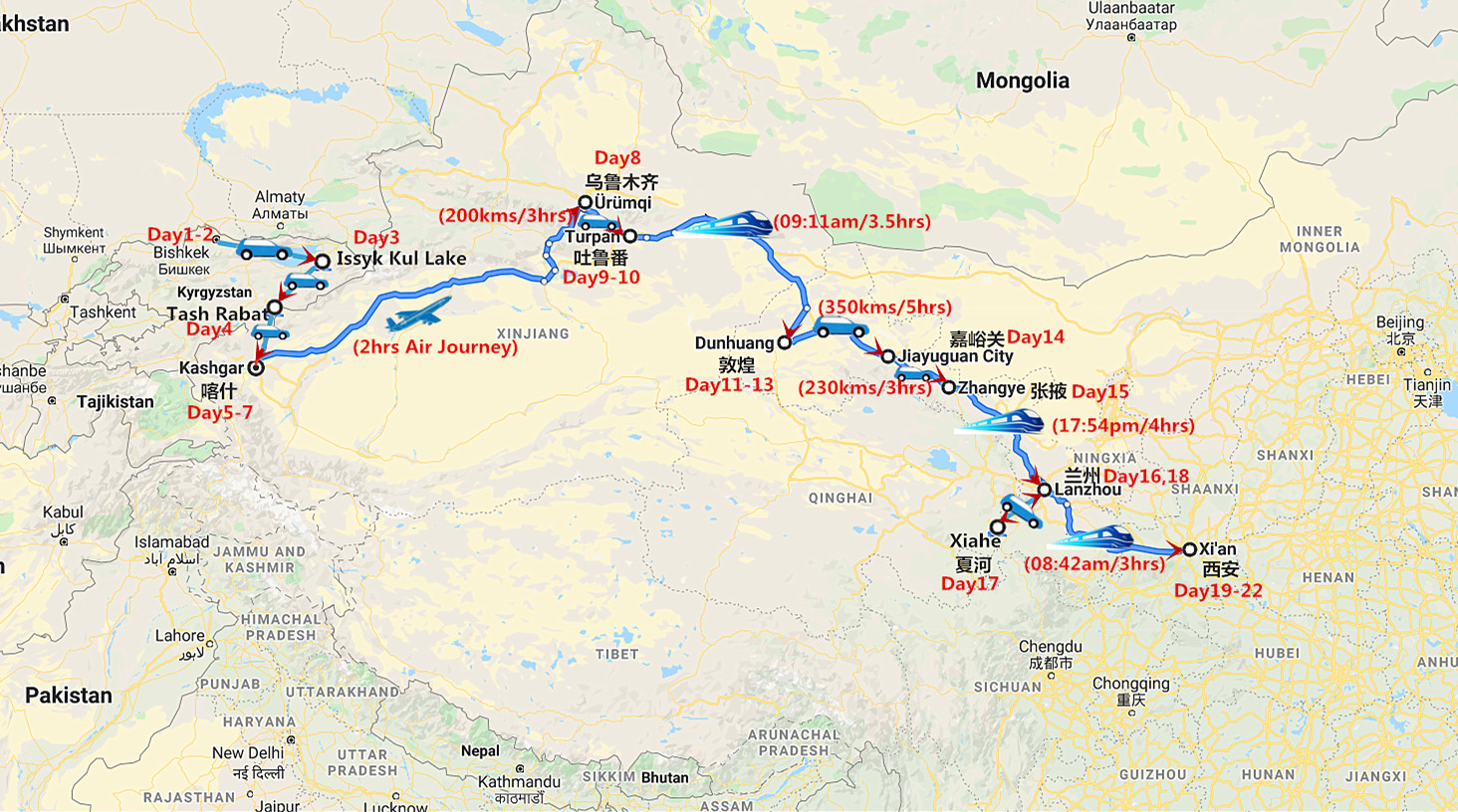 22 Days Great Silk Road Tour from Bishkek to Xi'an Travel Map